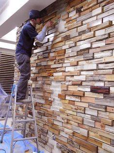 driftwood bricks wall covering