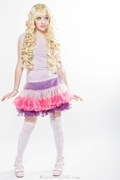 Elodie wearing a cute pink/purple princess outfit! <3