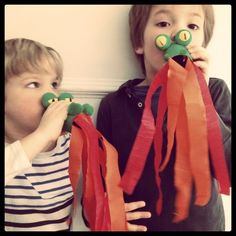 Fire breathing dragons from toilet paper rolls - instead of party blowers for Jo's dragon party! What a fun idea. Craft Activities For Kids, Preschool Crafts, Projects For Kids, Diy For Kids, Cool Kids, Fun Crafts, Crafts For Kids, Craft Projects, Fire Breathing Dragon