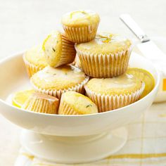 Fresh Rosemary and Lemon Cupcakes! More cakes and cupcakes: http://www.bhg.com/recipes/desserts/cakes/spring-cakes-and-cupcakes/