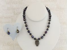 Metallic Beaded Owl necklace with Matching earrings by KreationsbyFinch on Etsy