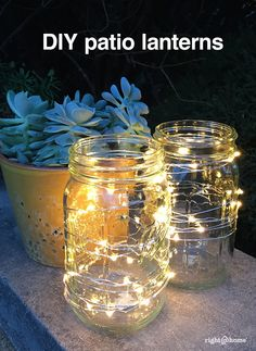 Some LED lights wrapped around a glass jar creates the perfect outdoor ambiance!
