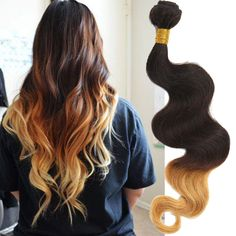 Brazilian Ombre Human Hair Extensions 3tone 1B/4/27#,Body Wave 50g/pc,Remy Hair #WIGISS #HairExtension