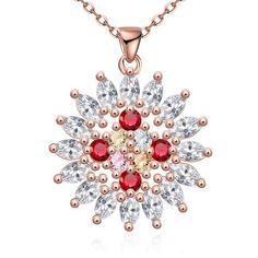 Rose Gold Plated Quad-Ruby's Necklace