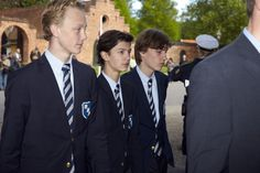 Prince Nikolai (second from the left), who is a student at Herlufsholm, and the Queen greeted each other briefly during Saturday's event.