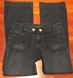 Banana Republic Womens Jeans size 6x30 Boot Cut Stretch Dark Wash Wide Hem #BananaRepublic #BootCut