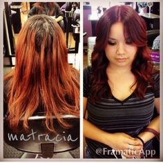 deep red wavy hair