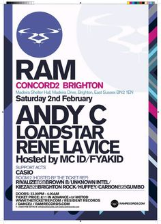 Rewind back to when RAM hosted Concorde2 in September 2012, the show was a sell out, with their busiest event of the year! On Saturday 2nd February we are set to repeat history once again... Tickets are on sale now for £11 + bf in adv from our website: https://www.concorde2.co.uk/bookTickets.php?pageName=RAM+with+Andy+C+and+loads+more%21=2013-02-02