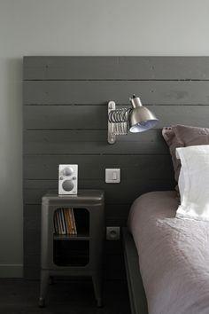 Headboard, industrial style, dark gray.