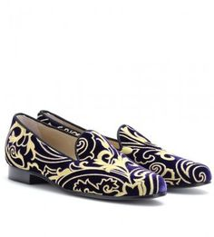 ShopStyle: Etro EMBROIDERED VELVET SLIPPER-STYLE LOAFERS. I love all smoking slippers <3