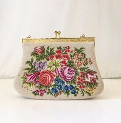 Vintage Needlepoint Tapestry Small Handbag    Mid Century Petite Point Tapestry  Purse w  Roses    Floral Upholstery Hinged Frame Clutch Bag c939246da9008