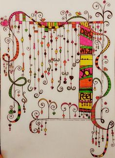 Very pretty and whimsical - Trend Design Stuff 2019 Tangle Doodle, Tangle Art, Zen Doodle, Doodle Art, Zentangle Drawings, Doodles Zentangles, Doodle Drawings, Doodle Designs, Doodle Patterns