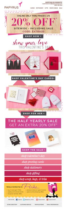 Papyrus gets a jump on Valentine's Day with this adorable marketing email.