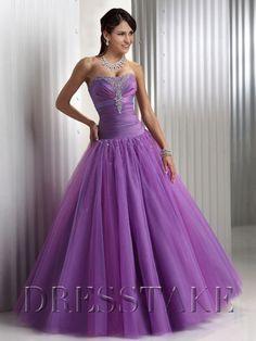 Unique A-line Sweetheart Floor-length Organza Purple Quinceanera Dresses, US$80.99