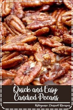 Quick & Easy Candied Pecans - Meaningful Mama snacks Quick and Easy Candied Pecans Appetizer Recipes, Snack Recipes, Dessert Recipes, Cooking Recipes, Appetizers, Easy Candy Recipes, Chez Mix Recipes, Trail Mix Recipes, Popcorn Recipes