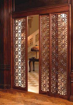 75 Fabulous Privacy Screen Design for Modern Home - Page 20 of 80 Diy Screen Door, Sliding Screen Doors, Diy Sliding Door, Sliding Door Design, Diy Door, Living Room Partition Design, Pooja Room Door Design, Room Partition Designs, Partition Ideas