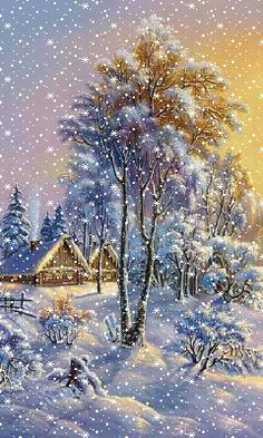 * * * * * ❄️ WINTER SNOW~ Watch The Flakes Come Down! ❄️Beautifully  Coloured GIF