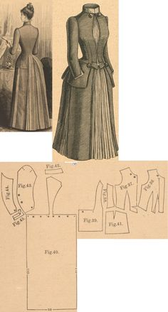 Der Bazar 1889: Dress from grey beige fabric with light yellow accents; 36. bodice's lining, 37. bodice's overpart, 38. and 39. side gores, 40. back part in half size, 41. peplum, 42. collar in half size, 43. and 44. sleeve parts, 45. cuff
