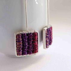 Long silver earrings Tangle earrings Purple  Sterling by aforfebre