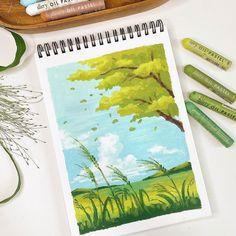 Oil Pastel Paintings, Oil Pastel Art, Oil Pastel Drawings, Art Drawings Sketches, Oil Pastel Landscape, Korean Art, Fashion Painting, Diy Canvas Art, Beauty Art