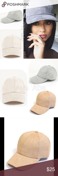 New baseball faux suede baseball cap beige or gray New CASUAL FAUX SUEDE BASEBALL CAP