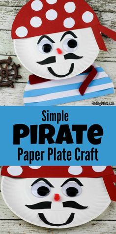 Simple Pirate Paper Plate Craft perfect for crafting at home, Talk Like a Pirate Day or even for those pirate fans who cant go see Jack Sparrow in Pirates of the Caribbean just yet. - Crafts Diy Home Paper Plate Crafts For Kids, Toddler Crafts, Crafts To Do, Diy Crafts For Kids, Arts And Crafts, Craft Ideas, Pirate Activities, Craft Activities, Preschool Crafts