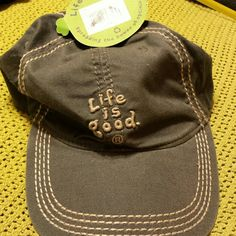 Life is Good 100% Cotton, Adjustable Bill Cap, NWT A grayish blue with white stitching and adjustable strap with snap closure at the back. Life is Good Other