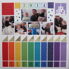Birthday! - Scrapbook.com - Emboss a rainbow of cardstock strips for a fun birthday party layout.