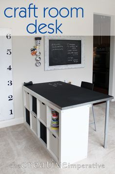 craft room desk from ikea bookshelf with text