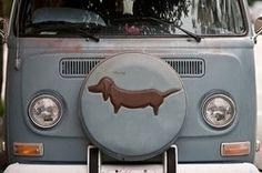 Love this camper van and sausage dog