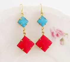 Vintage Red Glass Jewel Turquoise Blue Moonstone Square Dangle Earrings $21.00