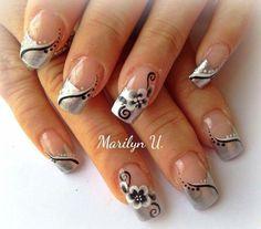 Silver Nail Designs, Nail Art Designs, French Polish, French Tips, Elegant Nails, Nail Technician, Fancy Nails, Flower Nails, Nail Ideas