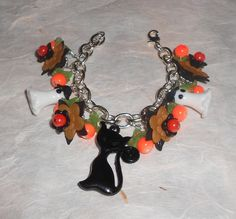 Halloween Cha Cha Bracelet ~ Ghosts ~Black Cat ~ Flowers by TrendyCharm on Etsy