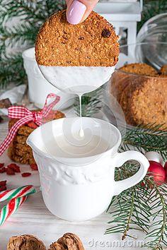 Milk and cookies for santa by Darius Dzinnik, via Dreamstime Milk Cookies, Royalty Free Stock Photos, Santa, Inspirational, Mugs, Tableware, Dinnerware, Tumblers, Tablewares