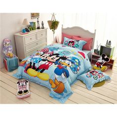 lotti-poppi.com > Preiswert günstig Kinderbett 3D Bettwäsche mit Bettlaken Disney Minnie Mickey Duck blau Bedding Sets Bettset online kaufen
