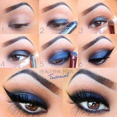 Dark blue smokey eye makeup - this goes to show that blue can work