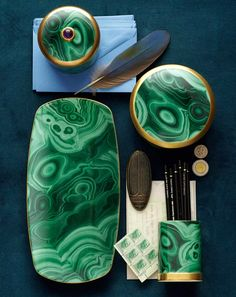 Experience the Malachite Round Box at L'Objet. Time-honored techniques and ageless design. Interior Accessories, Home Decor Accessories, Next Trends, Material Board, Pencil Cup, Stylish Home Decor, Vases, Collages, Interior Design