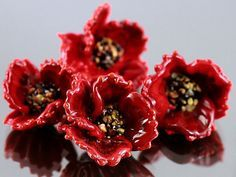 Lampwork Glass Beads Poppy - Handmade Beads Poppy, Floral Lampwork, Lampwork Flower Beads, Poppy