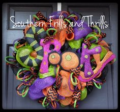 Halloween Deco Mesh Wreath by SouthernThrills on Etsy, $70.00
