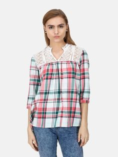 Cotton Check Top Top With Crochet Details - Tops - Women