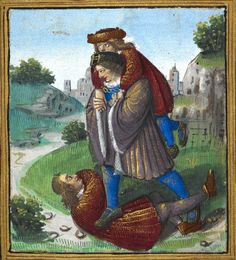"An illustration of the proverb ""trampling on one man to help another"" (f°12r) -- «Petit Livre d'Amour», by Pierre Sala, Paris and Lyon (France), 1st quarter of the 16th century [BL Stowe 955]."