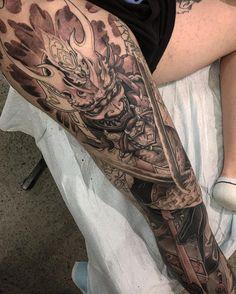 "2,280 Likes, 22 Comments - Tristen Zhang (@tristen_chronicink) on Instagram: ""Leg sleeve Miyamoto Musashi Japanese samurai version in progress @chronicink #workproud #wearproud"""
