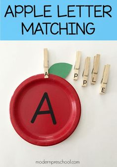 Letter matching apples help preschoolers and kindergarteners practice letters, name recognition, and site words. Fun Activities For Preschoolers, Circle Time Activities, Alphabet Activities, Language Activities, Reading Activities, Toddler Activities, Preschool Letters, Preschool At Home, Learning Letters