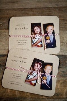 such a cute idea for wedding invitations. this would be awesome for Marty and I especially because we could take pictures from us in kindergarten because that's where we met<3
