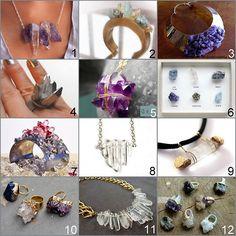 Roundup 11 Crystal Jewelry DIYs and one DIY inspiration.