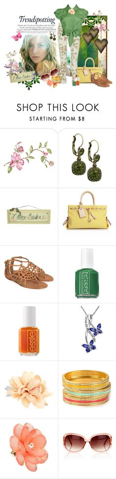 """""""Trendy and Fun: Floral Print Jeans"""" by lisa-arnold-holden ❤ liked on Polyvore featuring Kristin Cavallari, Melissa, Fergie, 1928, Forget Me Not, Dooney & Bourke, Ralph Lauren Collection, Essie, Lord & Taylor and Oasis"""