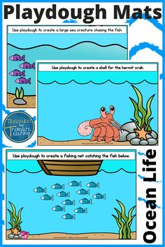 These Ocean Life themed playdough / playdoh mats are great for developing fine-motor skills and best of all they are fun! Each mat has a different instruction on it encouraging children to create something out of playdough.  These mats also promote reading skills, comprehension and even some basic mathematics skills. #playdough #finemotorskills #sensoryplay #treasuresforthematicteaching #teacherspayteachers