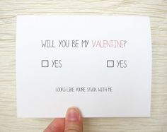 "Cute Valentine. Funny Valentines Day Card. ""Will you be my valentine?"" on Etsy, $4.00"