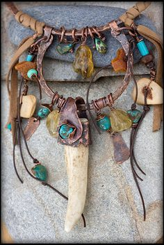 Boho Necklace: Copper Necklace Talisman by AnniamAeDesigns on Etsy