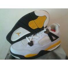 new product a4926 a4b5c Air Jordan Retro 4 White Tour Yellow Dark Blue Grey Black